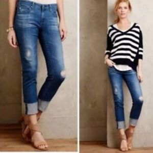AG The Stevie Cuff Skinny Straight Cuffed Jeans 27